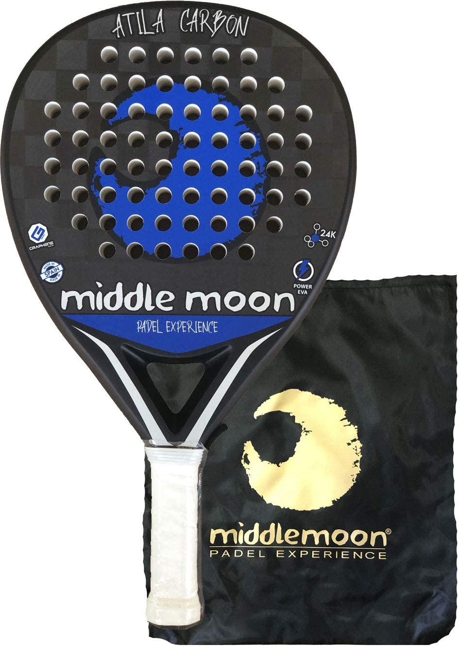 Middle Moon Pala de Pádel ATILA Carbon 24K 2019: Amazon.es ...