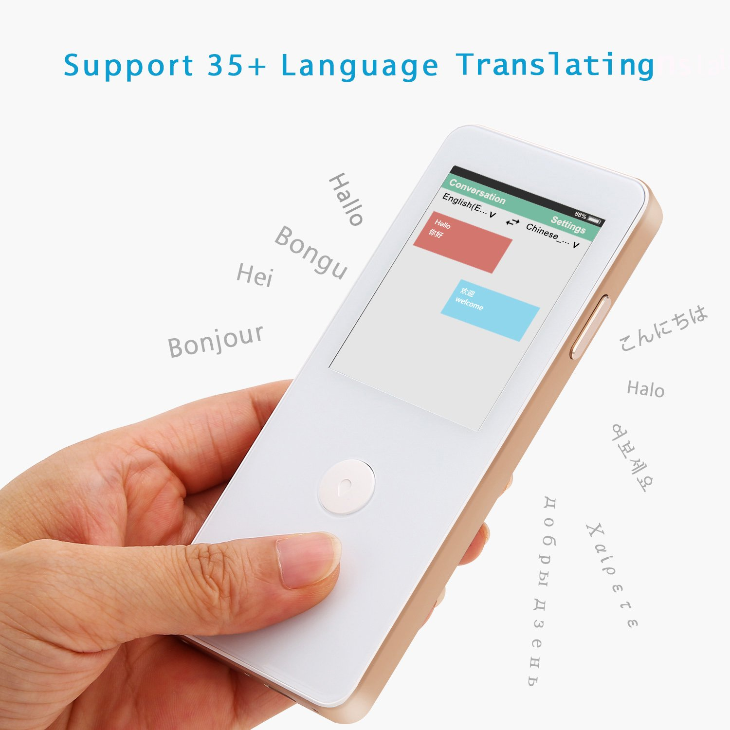 White Translating 42+ Languages of Chinese Spanish ECVV Smart Real-time Language Translator Device Translating with Touch Screen for Travel Business Study Japanese-WiFi Network French German