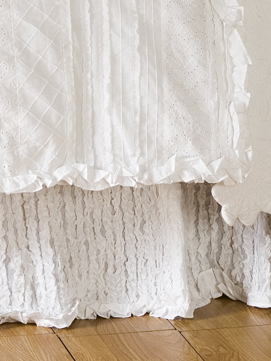 Be-you-tiful Home Laura Ruffled Bed Skirt, Queen, White