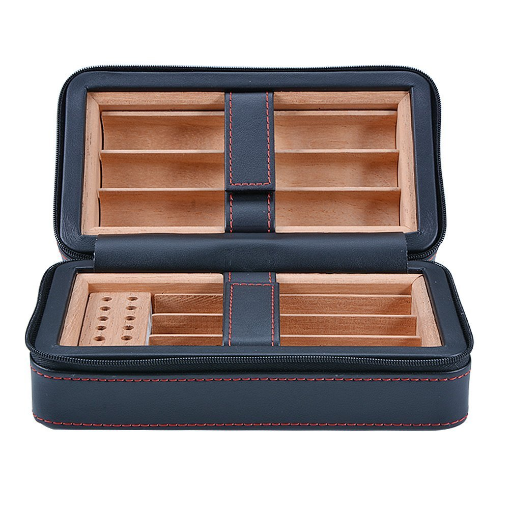 E-SDS Cigar Humidor,Portable Travel Cigar Case, PU Leather Cigar Box Wood Lined 6 Count (Black) by E-sds (Image #1)
