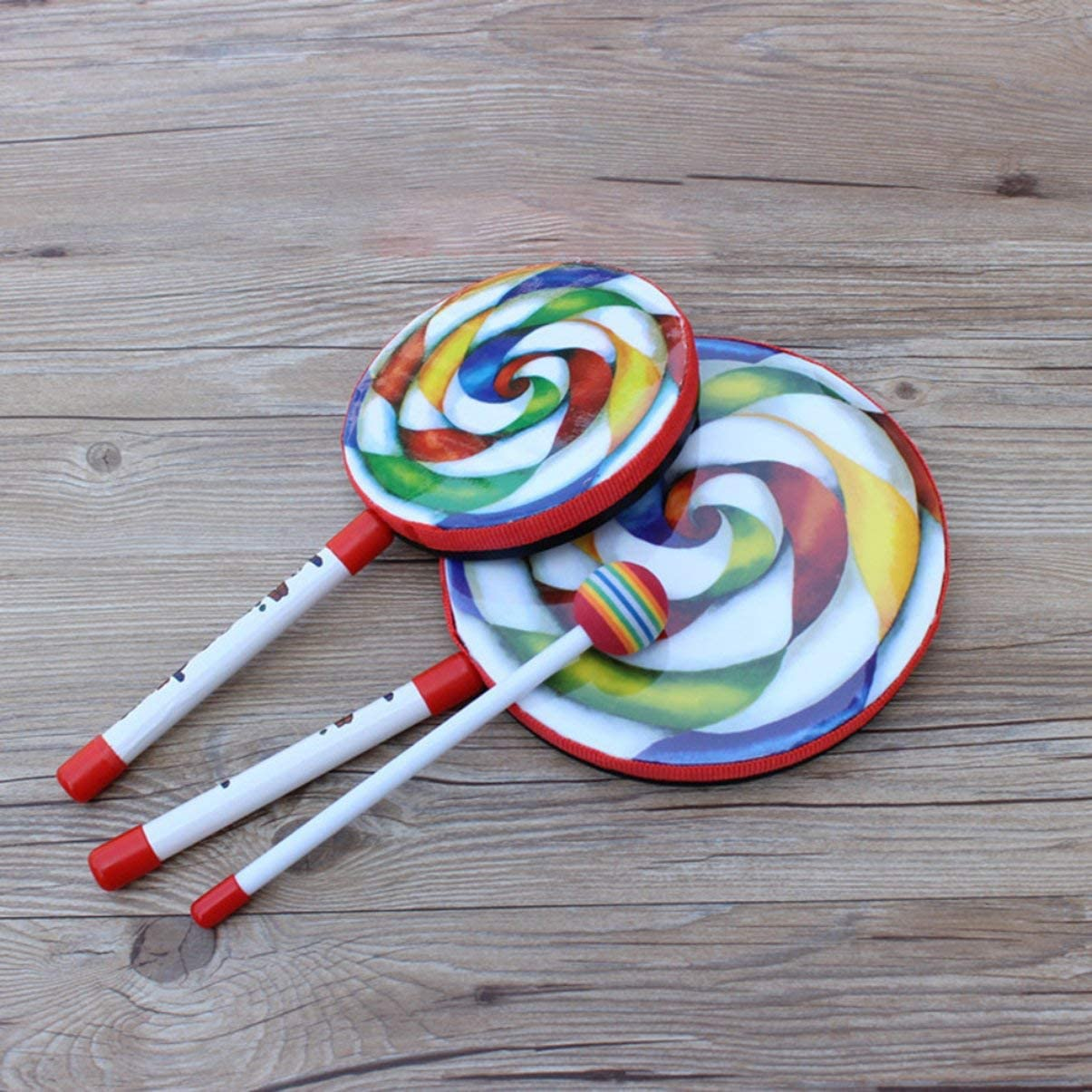 FHJZXDGHNXFGH Rainbow Blow Lollipop Drum Orff Instrumento Musical M/úsica para ni/ños Juguete de percusi/ón Kindergarten Ense/ñanza temprana