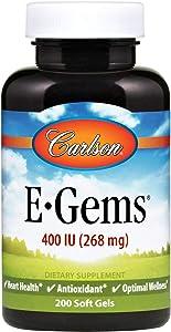 Carlson - E-Gems, 400 IU, Heart Health & Optimal Wellness, Antioxidant, 200 soft gels