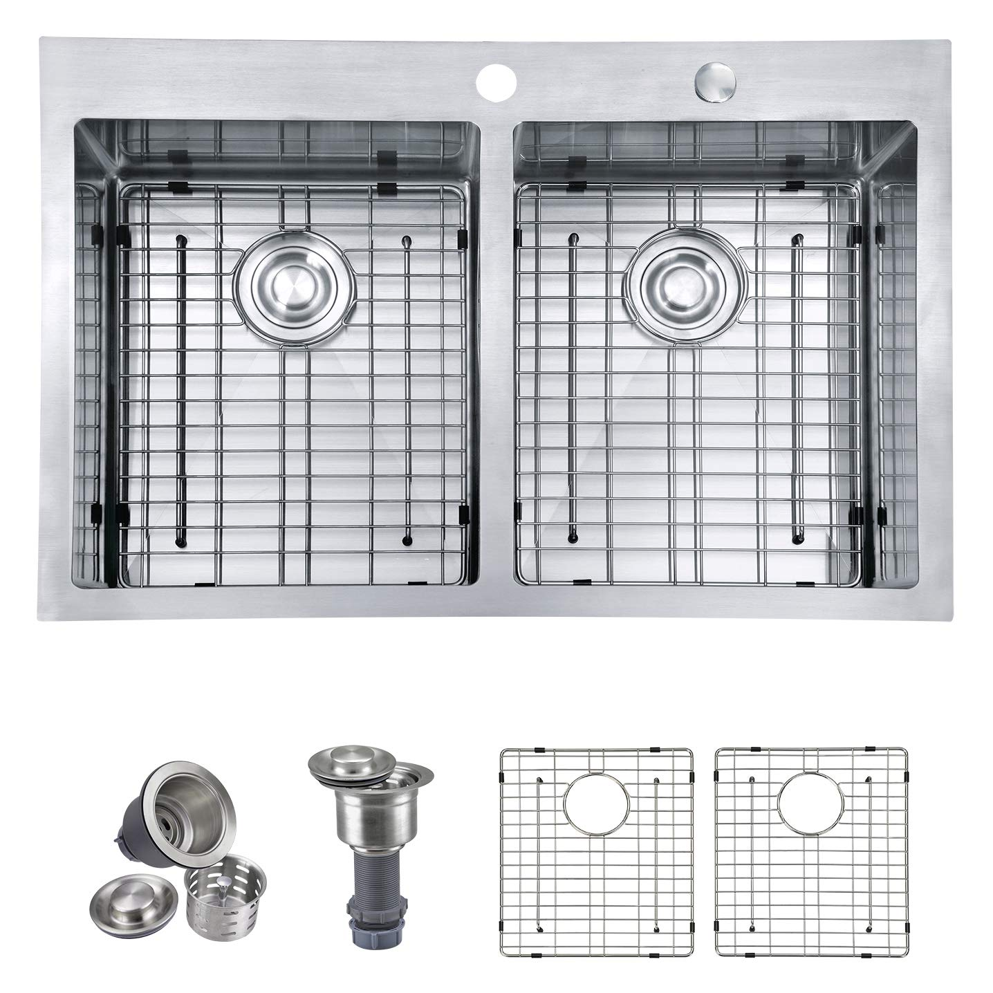 MOWA HTD33DE Upgraded Perfect Drainage Handmade 33 16 Gauge Stainless Steel Topmount 50 50 Double Bowl Kitchen Sink, Modern Tight-Radius Style, Commercial Deep Basin, w Sink Bottom Grids Strainers