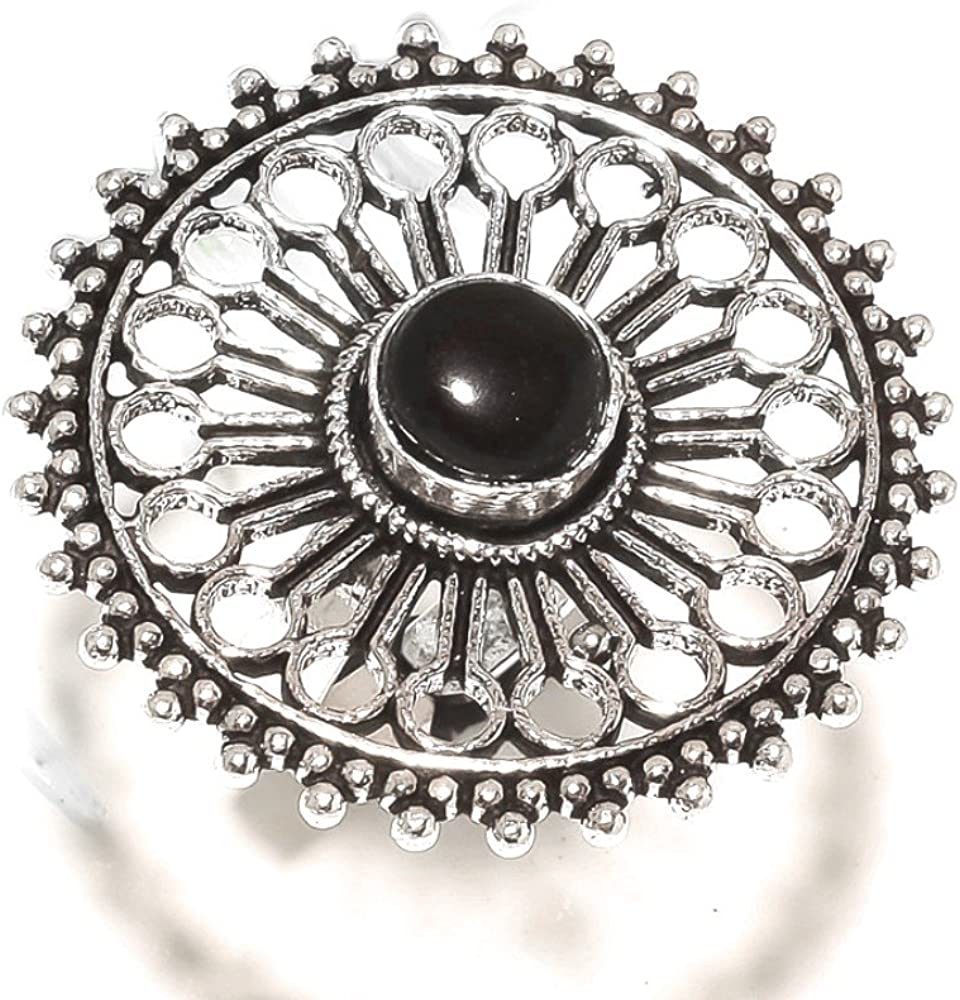 Sizable Black Onyx 925 Sterling Silver Plated 10 Grams Ring Size 8.5 US Outstanding Jewelry