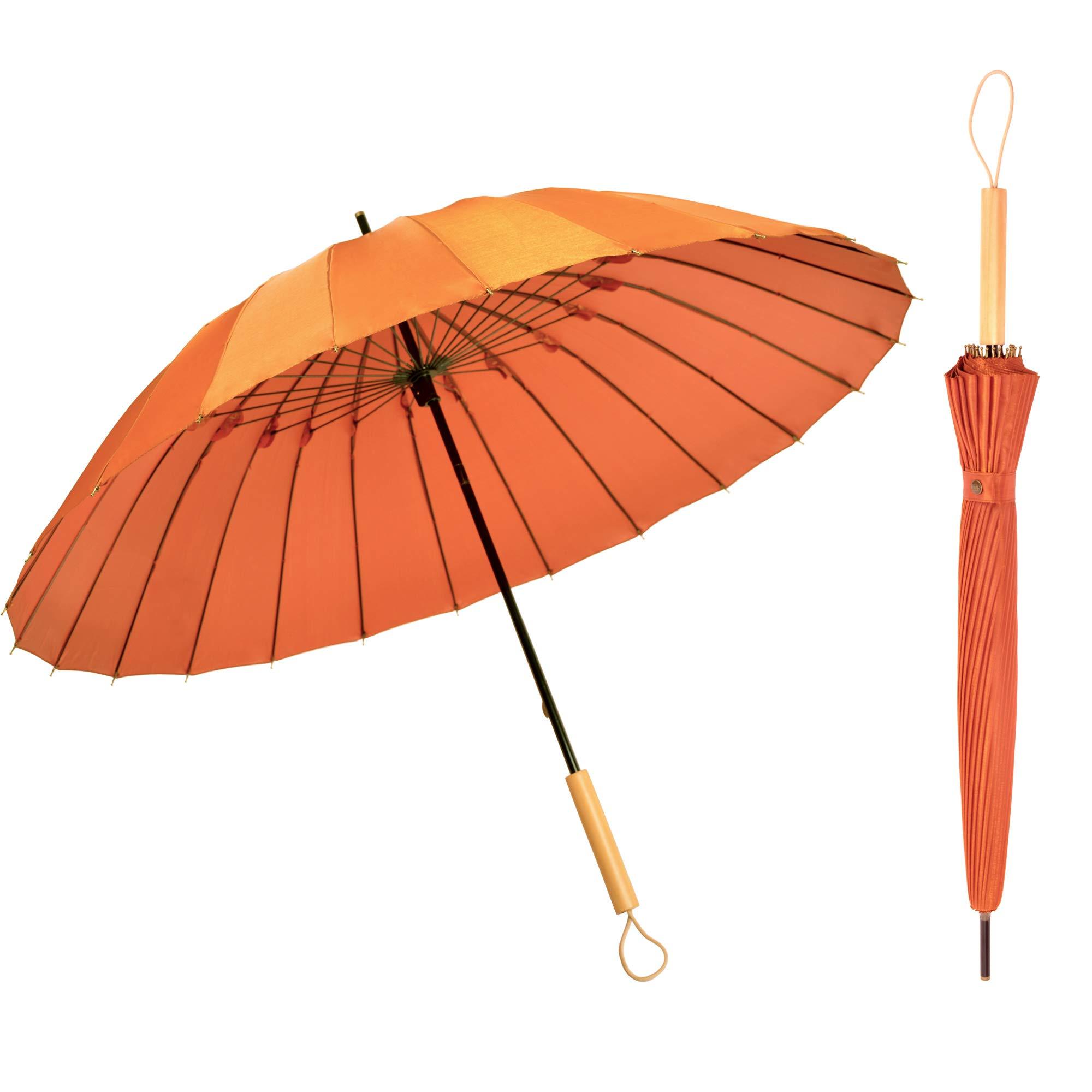Kung Fu Smith Janpanese Parasol Rain Umbrella - Large Windproof and Ultra Light - Orange and Wood Handle