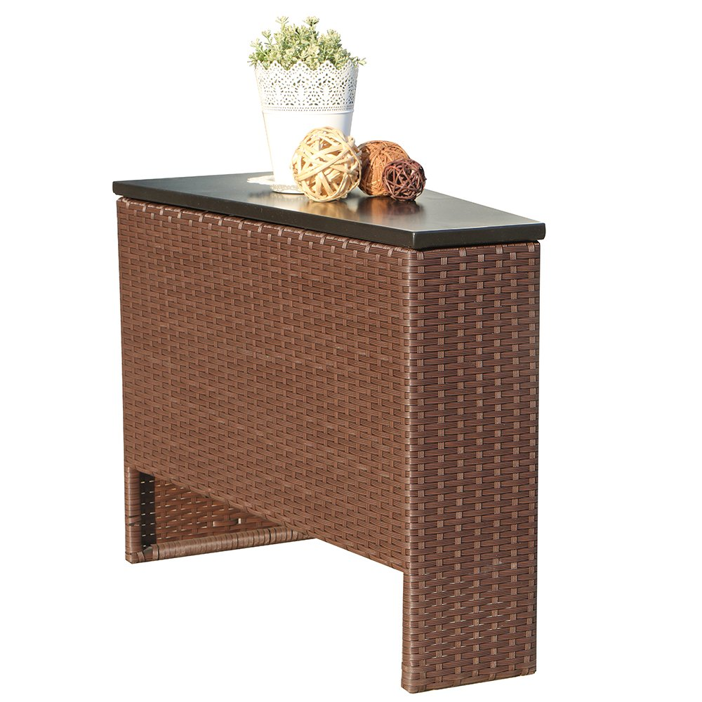 Patiorama Outdoor Wicker Side Storage Table,Additional Storage for Sectional Set by Patiorama