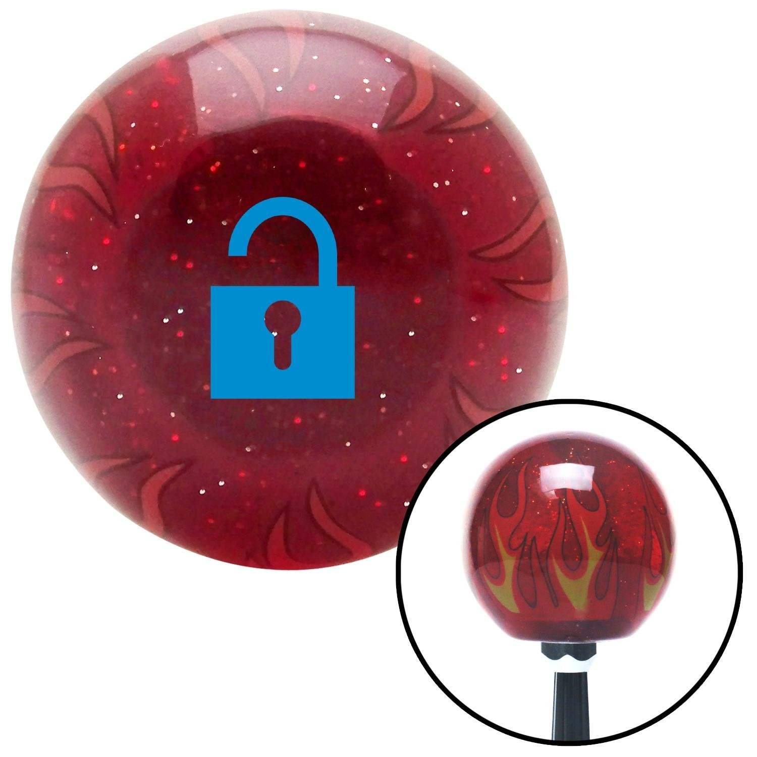 Blue Unlocked Lock American Shifter 239758 Red Flame Metal Flake Shift Knob with M16 x 1.5 Insert