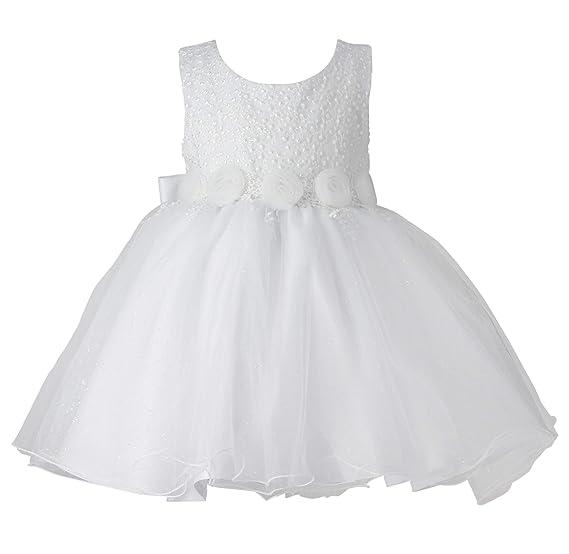 a90d4c8678b4a Boutique-Magique Robe de baptême bébé Fille Blanche Tulle Scintillant