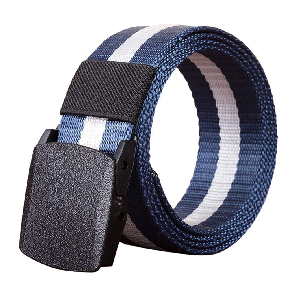 RockJay Men's Military Tactical Web Belt, Casual Nylon Webbing with No Metal Buckle Blue Stripe 110cm by RockJay