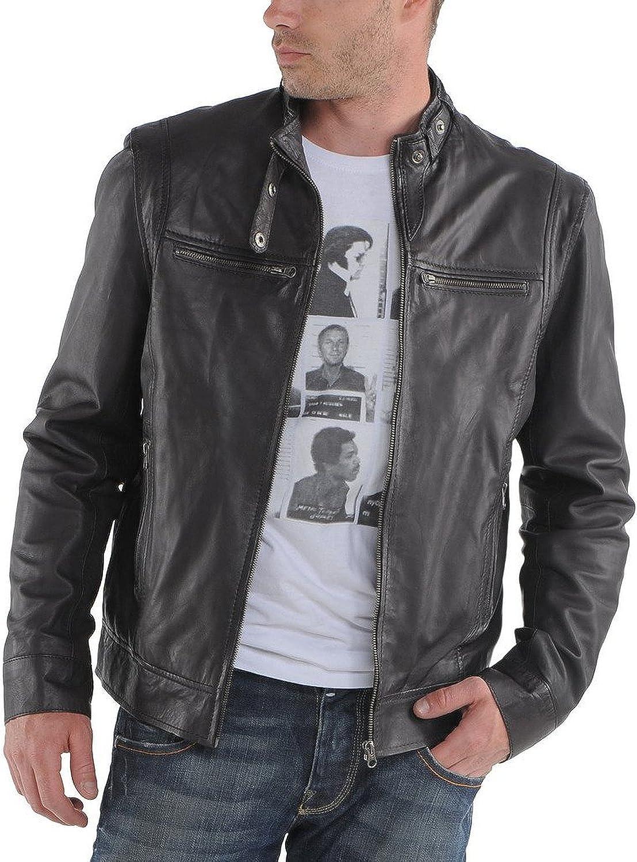 Kingdom Leather Men Motorcycle Lambskin Leather Jacket Coat Outwear Jackets X759