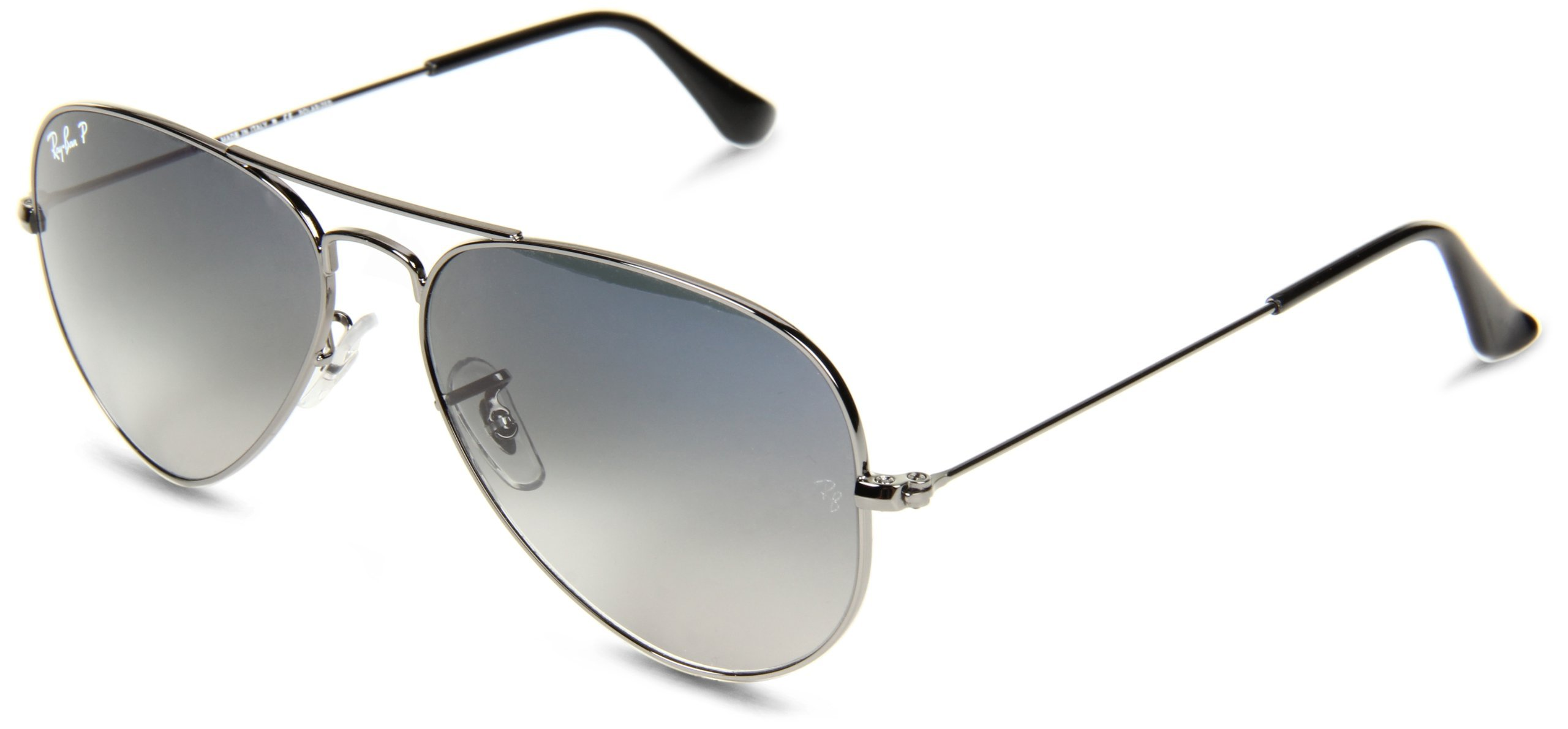 RAY-BAN RB3025 Aviator Large Metal Polarized Sunglasses, Gunmetal/Polarized Blue Gradient, 55 mm by RAY-BAN
