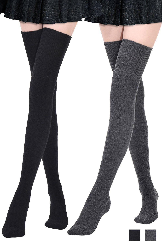 Kayhoma Extra Long Cotton Thigh High Socks Over the Knee High Boot Socks Cotton Leg Warmers