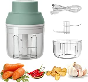 Electric Mini Garlic Chopper, Portable Food Processor with USB Charing, Cordless Vegetable Mincer and Grinder for Nuts/Onions/Meat/Salad, 250ML/100ML, 2 Stainless Steel Blade, Waterproof, BPA Free