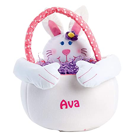 Brilliant Personalized Plush Girl Easter Bunny Basket Tote 14 H Caraccident5 Cool Chair Designs And Ideas Caraccident5Info