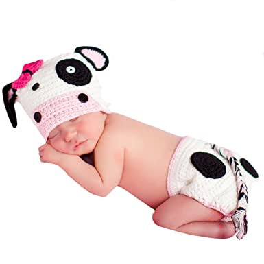 Image Unavailable. Image not available for. Color  Melondipity s Baby Girl Cow  Crochet Hat and Diaper Cover ... 79dd16b655b