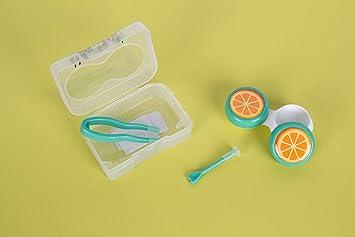 Estuche lentillas portátil con dibujo de frutas. Estuches de lentillas con pinzas y palito con ventosa para mejor colocación. Dibujo de naranjas.: Amazon.es: Salud y cuidado personal