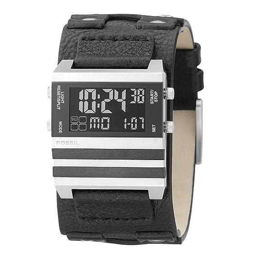 Fossil JR9747 - Reloj Digital de Cuarzo para Hombre con Correa de Acero Inoxidable, Color Negro: Amazon.es: Relojes