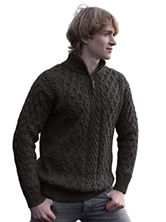 66dc94c40 West End Knitwear Merino Wool Half Zip Irish Sweater at Amazon Men s  Clothing store