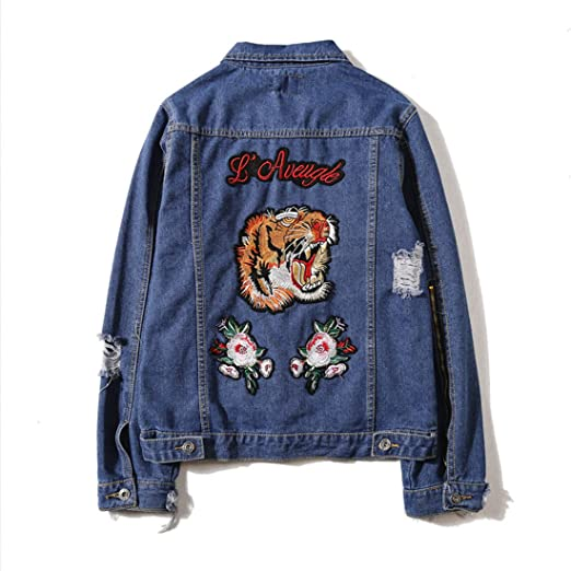 Hbos Mens Fashion Jackets Hipster Embroidered Tiger Denim Jean