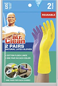 Mr. Clean Small Reusable Latex Gloves, 2 Color, 2 Pairs