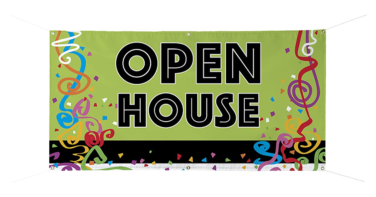 """OPEN HOUSE"" Full Color Durable Banner - 24"" x 48"""