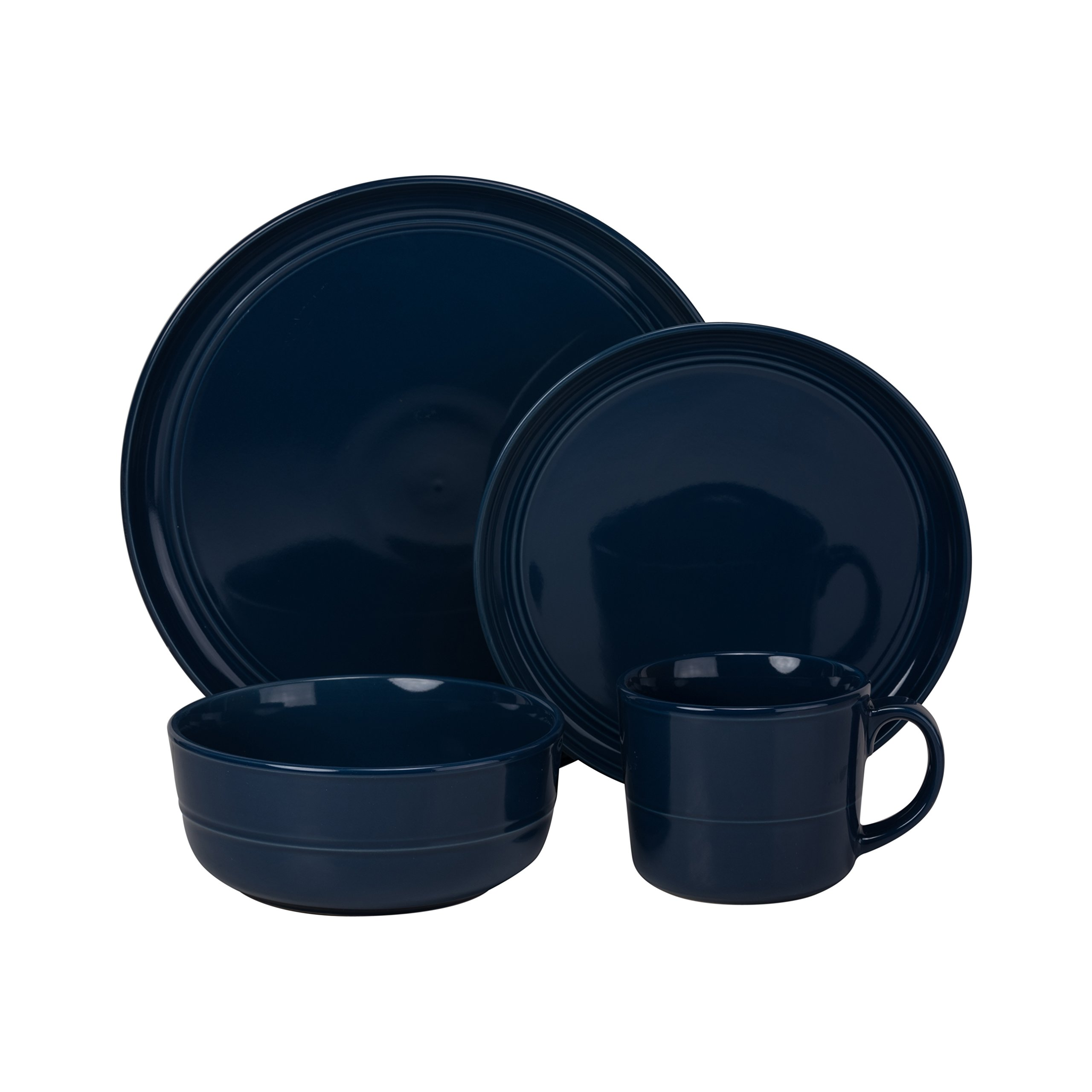 10 Strawberry Street DBL-1600CBLT-OS Double Line 16 Piece Dinnerware Set, Cobalt by 10 Strawberry Street