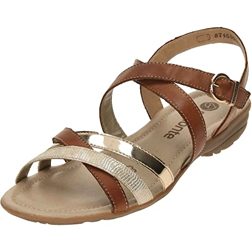 f4c3eb4b6464 Remonte Flat Strappy Gladiator Tan Leather Sandals R3631-22 Brown  Combination UK 4 37