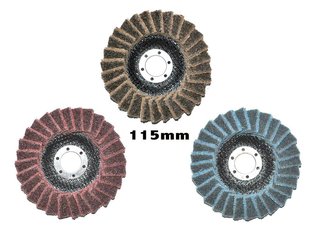 Set mit insgesamt 3 Stück 115mm Polierfächerscheiben. Je 1x Fein/Fine, Mittel/Medium, Grob/Coarse. 22.23mm für Winkelschleifer. Quantex