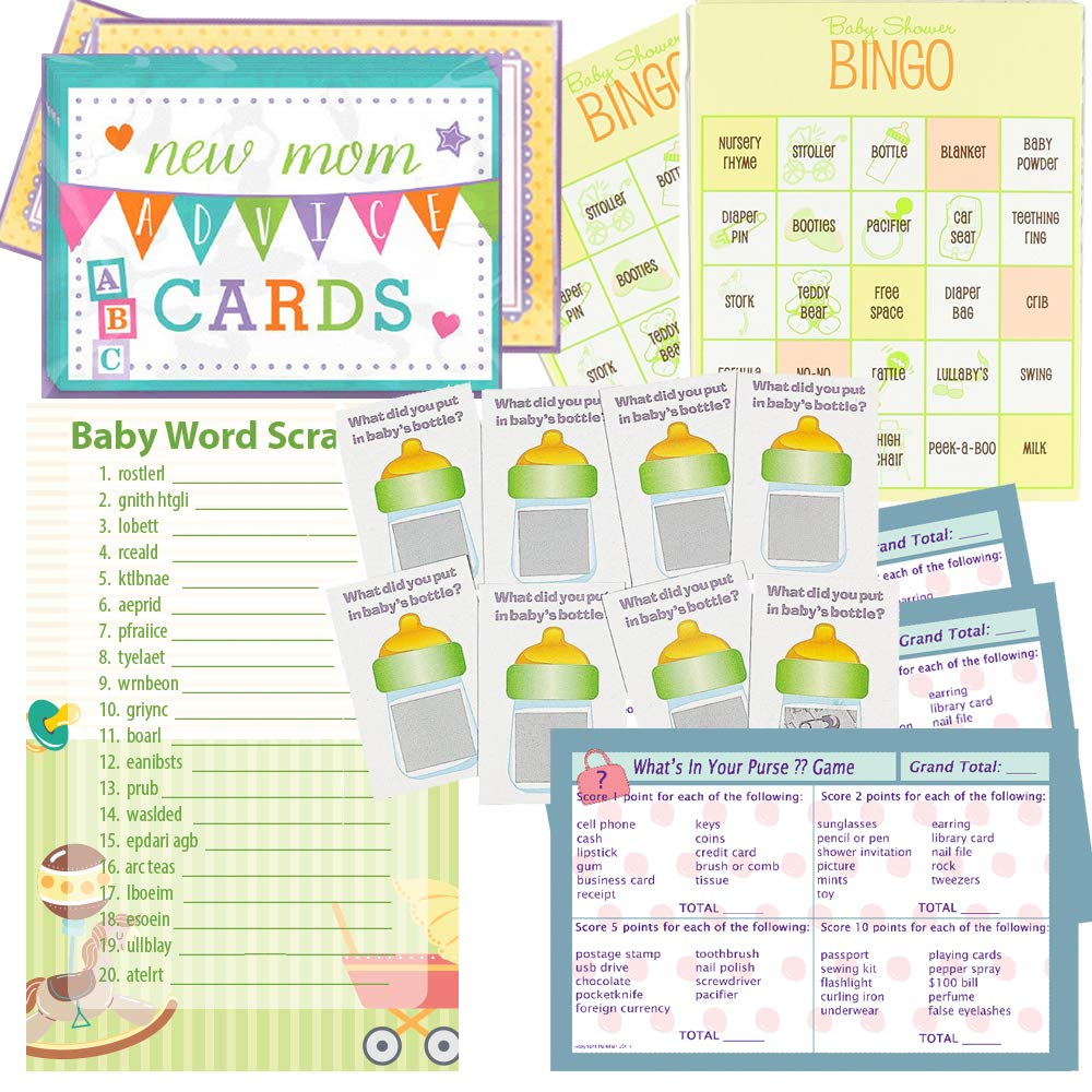Multiple Baby Shower Games Set for 24 - Baby Shower Bingo, Whats in Your Purse Game, Word Scramble, Scratch Tickets and New Mommy Advice Cards by Multiple