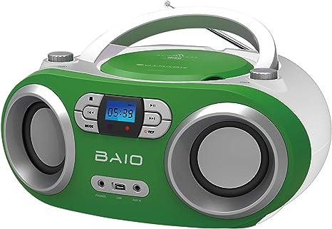telecomando Lettore CD portatile con ingresso USB display LCD 2 x 1,5 W RMS BOOMBOX illuminazione blu OUTMARK BAIO MP3 AUX-IN bianco collegamento radio FM