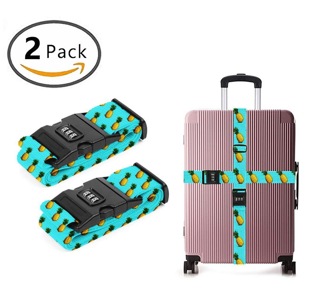 YEAHSPACE Adjustable Summer Fruit Pineapples Travel Luggage Strap Straps TSA Approved For Suitcase 2 Pack