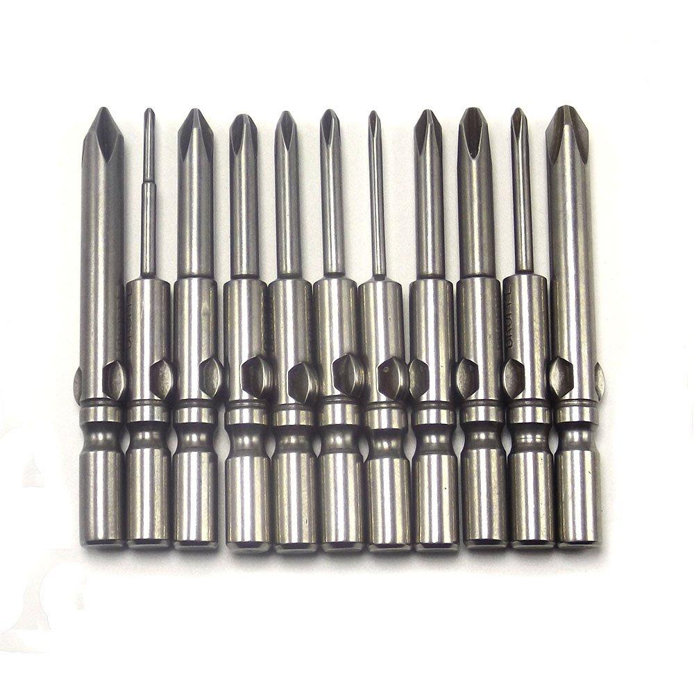 HOEN 11Pcs 802 1.6-6.0mm Cross Screwdriver Bits Set 1/4 Round Shank Electric Screwdriver Bits