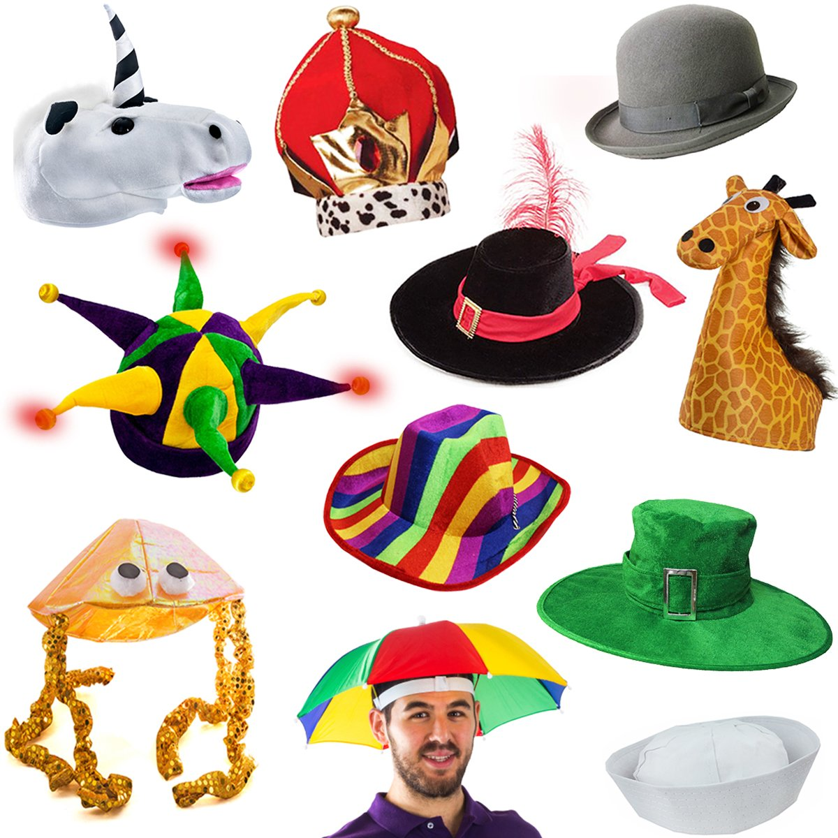 6 Assorted Dress Up Costume & Party Hats by Funny Party Hats (6 Adult Costume Hats) by Funny Party Hats