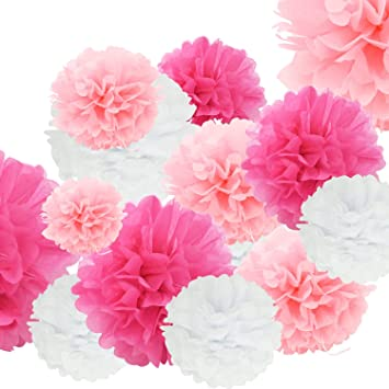 24pcs Craft Paper Tissue Pom Poms Doubletwo Ceiling Decor Wall Decor 12inches 10inches 8inches Hanging Paper Pom Poms Flower Ball Wedding Party