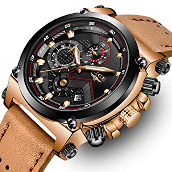 bc2954c0397 LIGE Men s Fashion Sport Quartz Watch with Brown Leather Strap Chronograph  Waterproof Auto Date Analog Black