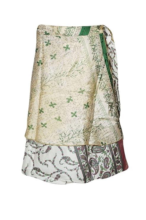 Mogul - Falda de Seda para Mujer, Reversible, 2 Capas, Hecha a ...