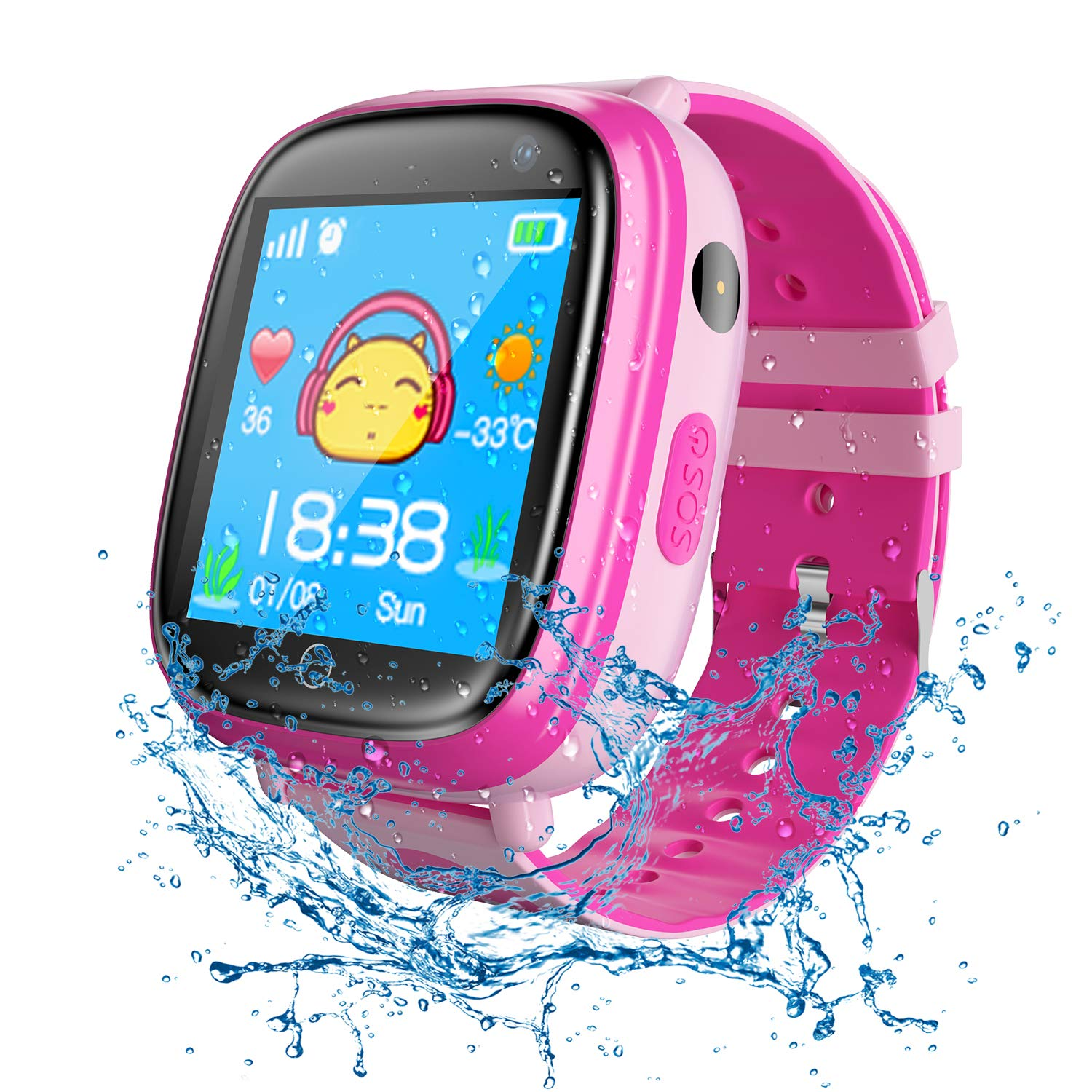 Kids Waterproof Smart Watches Phone, SZBXD GPS Tracker Touchscreen Sports Smartwatch Games Flashlight SOS Alarm Clock Camera Smart Wrist Watch Christmas ...