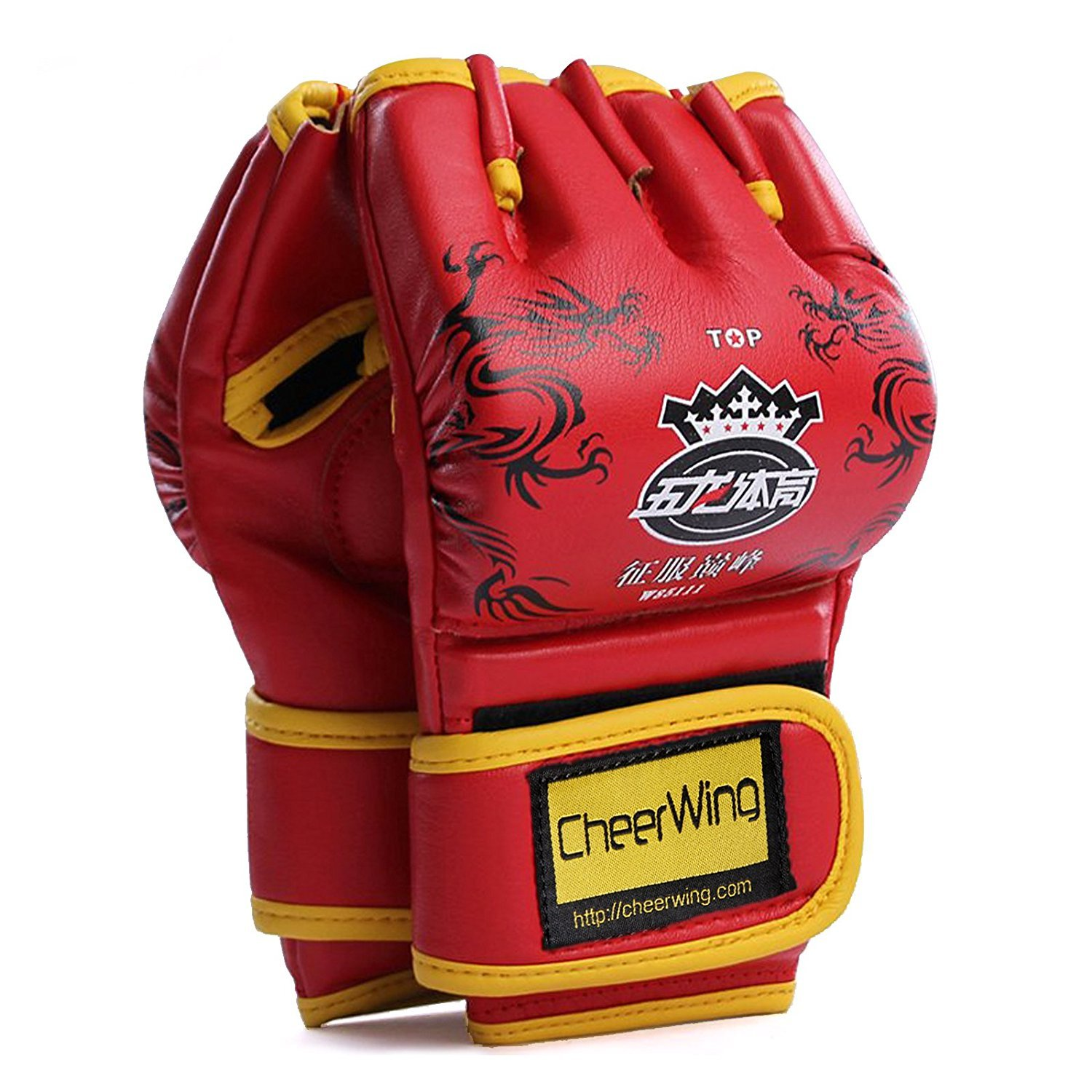 Cheerwing Half Finger Boxing Gloves MMA UFC Sparring Grappling Fight Punch Ultimate Mitts Leather Kickboxing Gloves