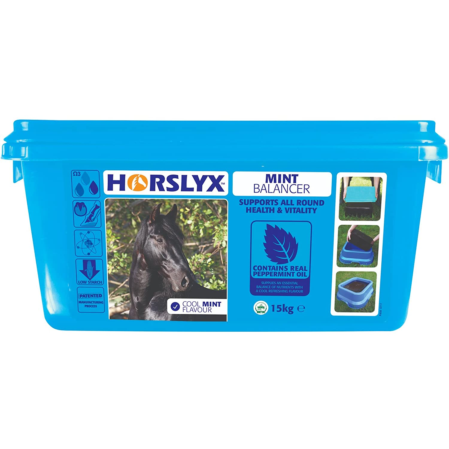 15kg Horslyx Mint Balancer Lick Tigerbox® & Horslyx Mint Balancer Lick x 15kg for All-Round Health and Vitality by Supplying an Essential Balance of Nutrients with a Cooling Refreshing Flavour & Antibacterial Pen.