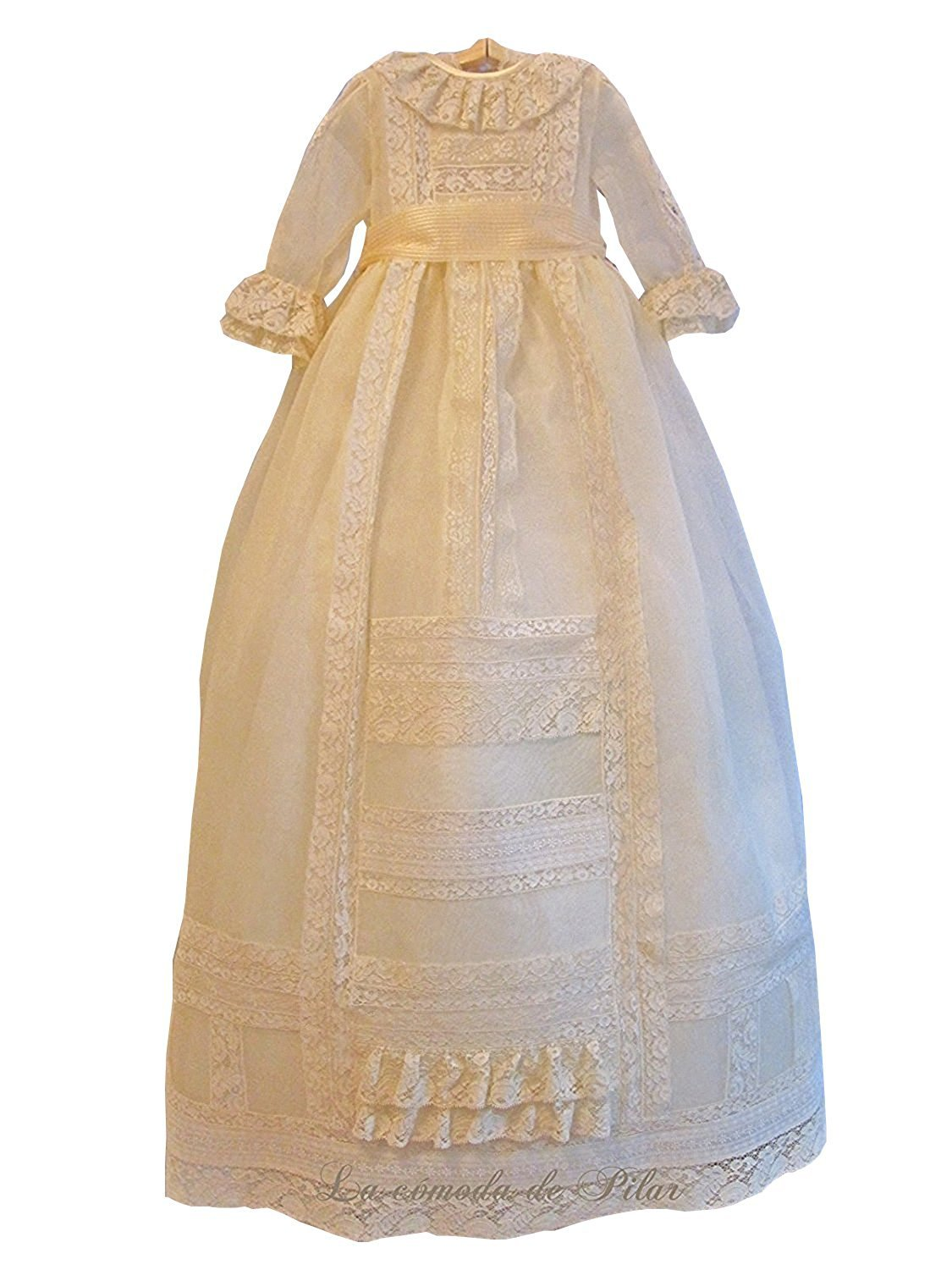 Banfvting Lace Long Baby Girls Dress Christening Gowns With Sleeves by Banfvting (Image #1)