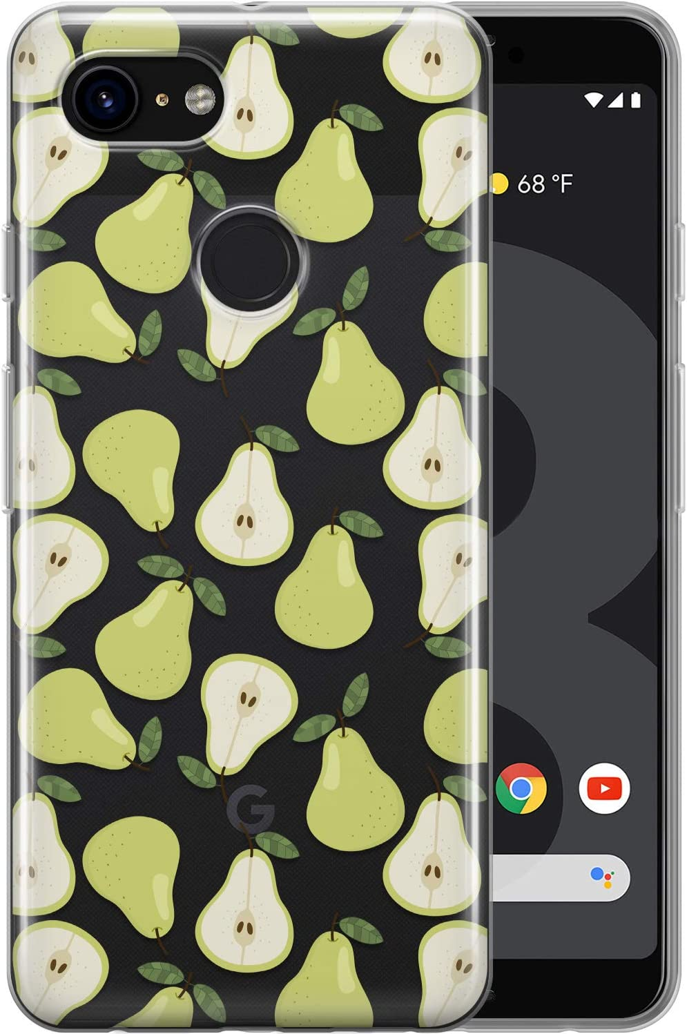 Toik Case Compatible with Google Pixel 5 2020 4a 5G 4 XL 3a XL 3 2 XL 2019 2016 Slim Protective TPU Food Silicone Green Pattern Fruits Pear Cute Clear Simple Cover Flexible Lightweight phpat183