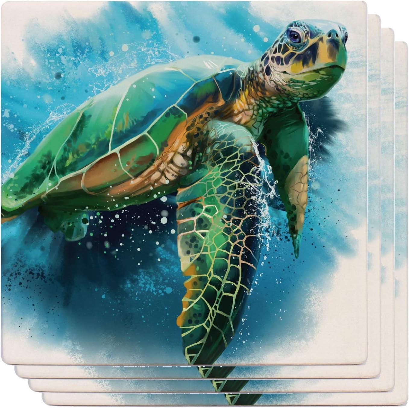 Amazon Com Monarque Ceramic Drink Coasters Set Of Four Sea Turtle Coasters