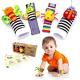 BABY K Foot Finder Socks & Wrist Rattles (Butterfly Buddies Set A) - Newborn Toys for Baby Boy or Girl - Brain Development In