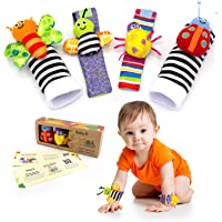 BABY K Foot Finder Socks & Wrist Rattles Newborn Toys for Baby Boy or Girl - New Baby Gift Infant Toys - Hand and Foot…