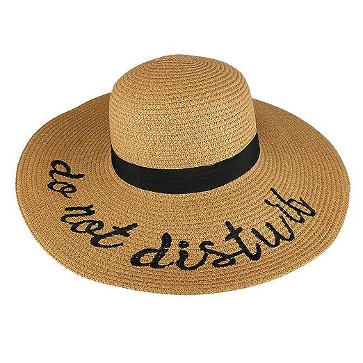 0a003a20b2b Trendy Apparel Shop Disturb Embroidered Ladies Large Brim Summer Floppy Straw  Hat - Dark Tan