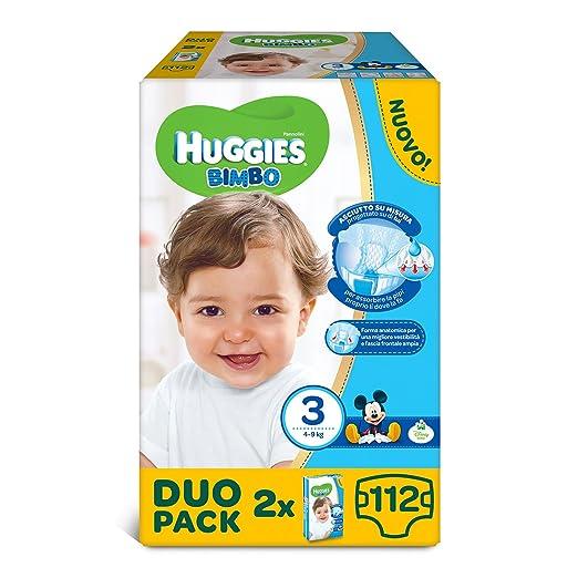 130 opinioni per Huggies Pannolini Bimbo, Taglia 3 (4-9 kg), 2 confezioni da 56 [112 Pannolini]