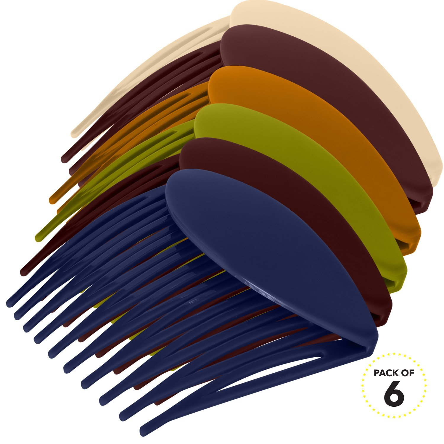 RC ROCHE ORNAMENT 6 Pcs Womens Hair Side Slide Comb Wide Teeth Plastic Strong Solid Plain Bridal Pin Fashion Ladies Girl Clamp Styling Accessories Clip, Large Classic Multicolor : Beauty