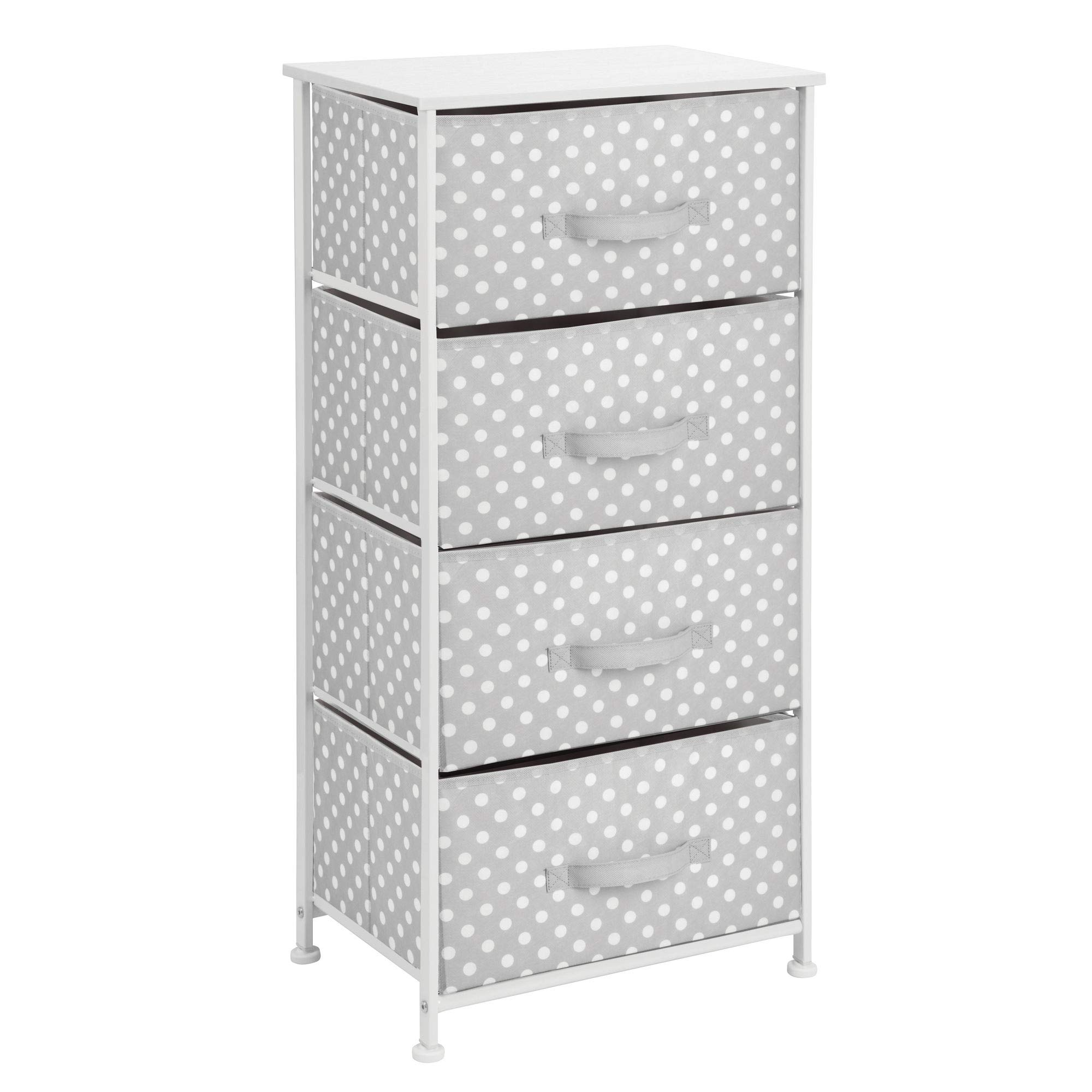 mDesign 4-Drawer Vertical Dresser Storage Tower - Sturdy Steel Frame, Wood Top and Easy Pull Fabric Bins - Multi-Bin Organizer Unit for Child/Kids Bedroom or Nursery - Light Gray with White Polka Dots by mDesign (Image #4)