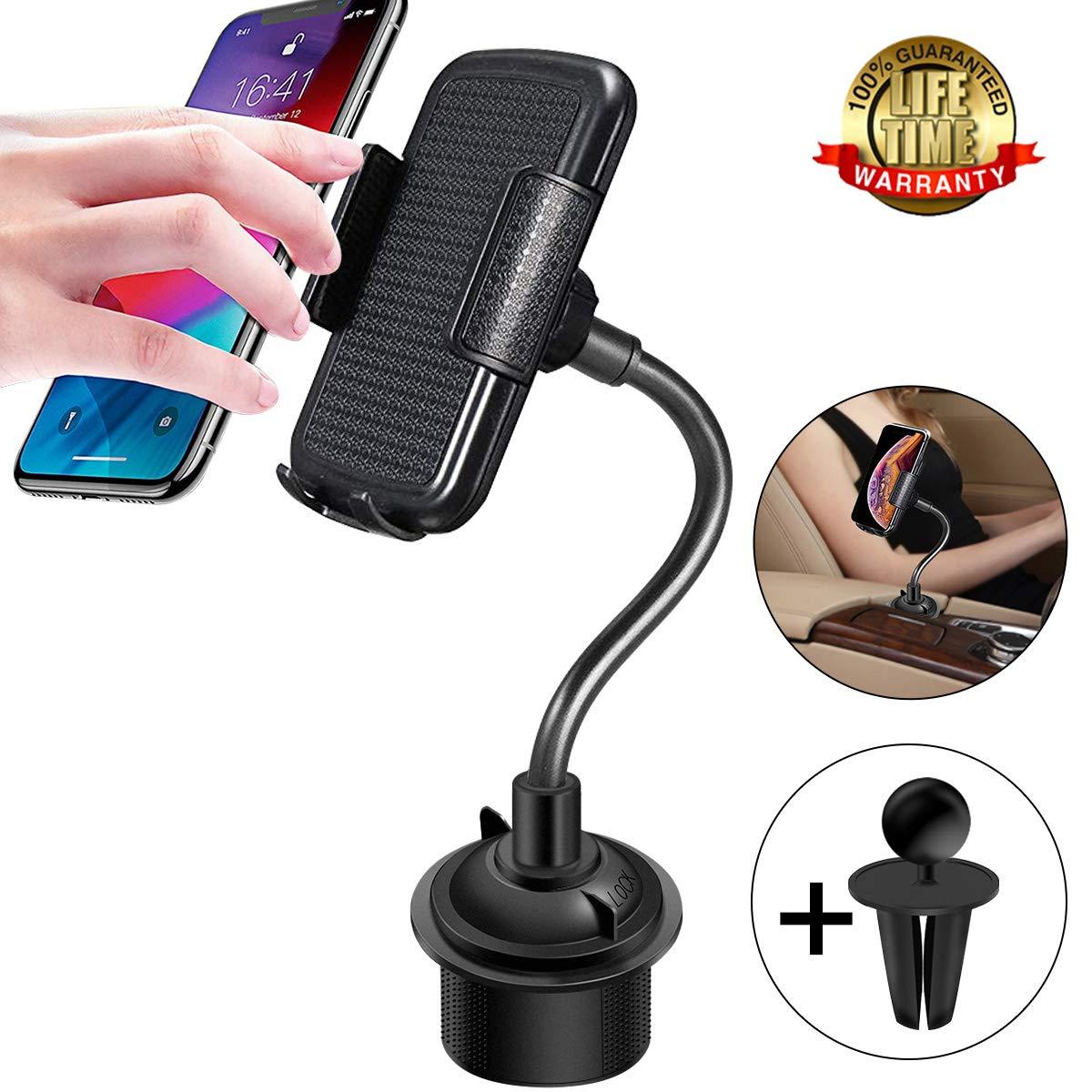 Soporte Ajustable para el sujetavasos del Coche con Cuello Flexible para iPhone 6 7 8 Plus X XS Samsung Galaxy S9 S10 Plus Huawei mate20 Pro