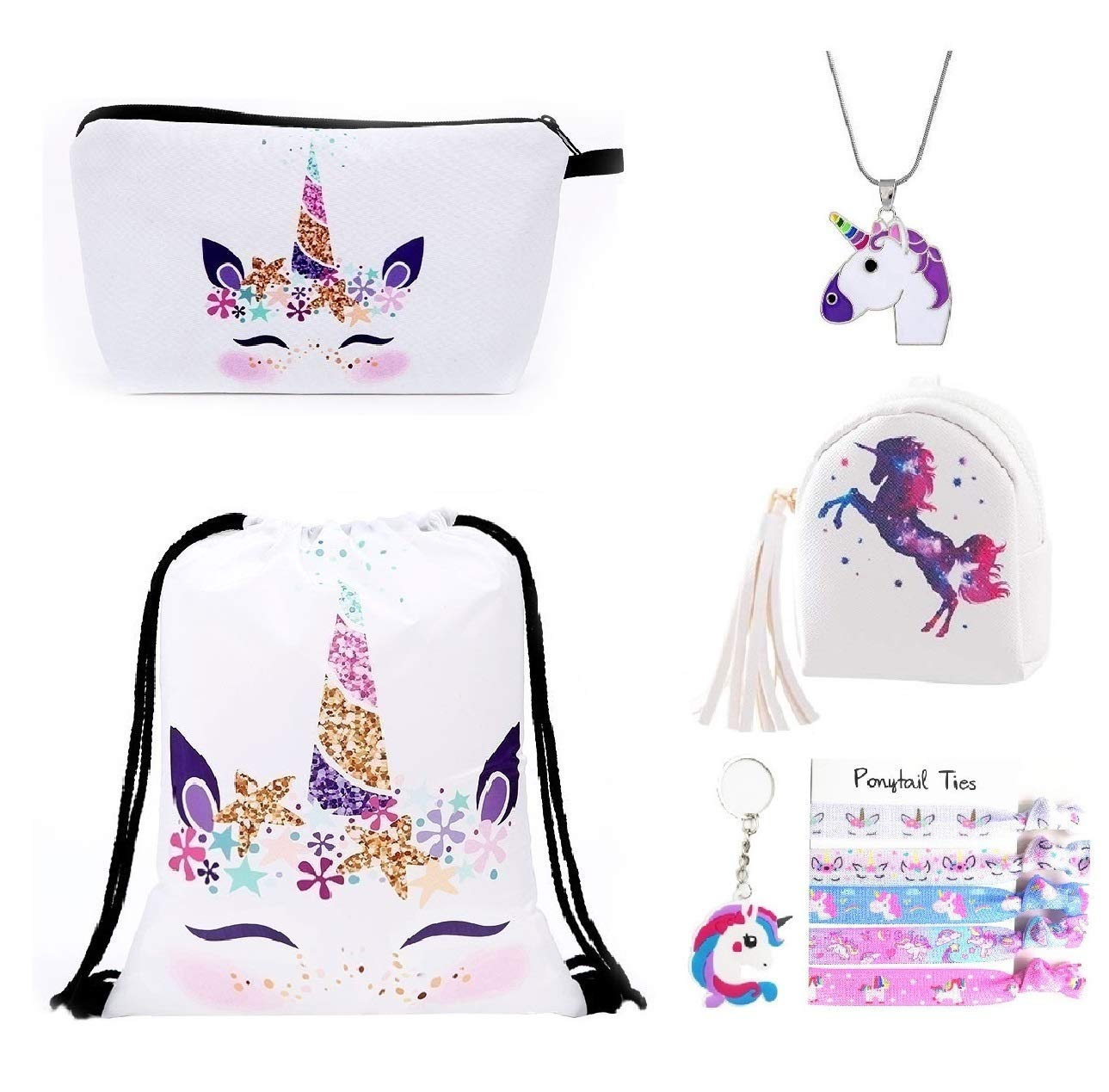 Fanovo Pink Rainbow Unicorn Backpack, Mini Travel Backpack, Shiny Backpack for Girls, Super Cool Leather Daypack + Unicorn/Bracelet/Inspirational Necklace/Ring (A - Drawstring Set H)